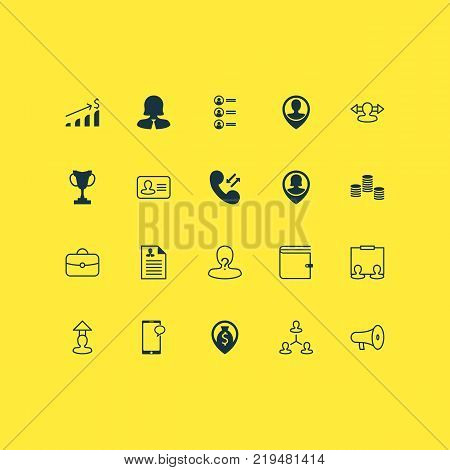 Human icons set with hierarchy, navigation, reverse and other money elements. Isolated vector illustration human icons.