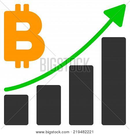 Bitcoin Growth Trend flat vector icon. An isolated illustration on a white background.