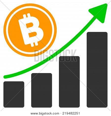 Bitcoin Growth Trend flat vector pictograph. An isolated illustration on a white background.