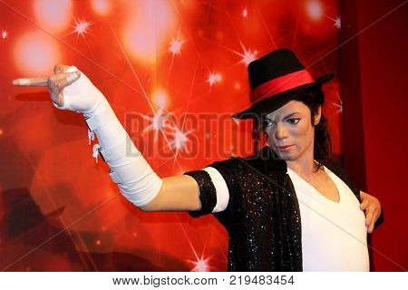 London, - United Kingdom, 08, July 2014. Madame Tussauds in London. Waxwork statue of Michael Jackson. Created by Madam Tussauds in 1884, Madam Tussauds is a waxwork museum and tourist attraction
