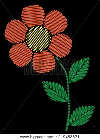 Embroidery stitches imitation simple orange flower. Fashion embroidery little flower on black background. Embroidery one flower vector.