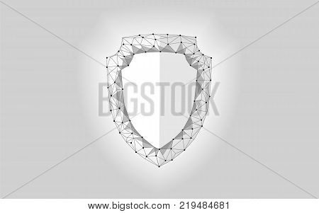 Cyber security safety shield low poly. Polygonal geometric glowing guard save from internet attack antivirus. Gray white defense space futuristic modern design vector illustration art