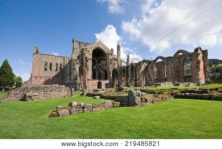 Ruins of the famous St Mary Abbey at Melrose village in Scotland