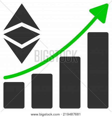 Classic Ethereum Growth Trend flat vector icon. An isolated illustration on a white background.