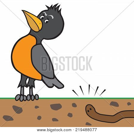 A cartoon robin is listening carefully to a worm digging underground