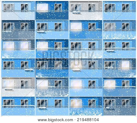 Stylized vector illustration of a colored apartments house in winter night. Seamless in all directions if needed