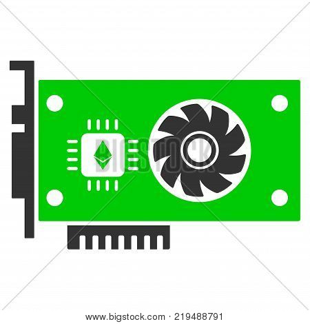 Ethereum Gpu Videocard flat vector pictograph. An isolated illustration on a white background.