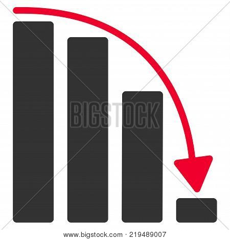 Falling Acceleration Bar Chart flat vector illustration. An isolated illustration on a white background.