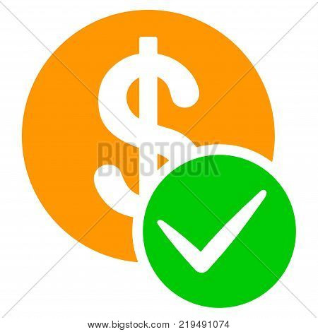 Valid Dollar Coin flat vector pictograph. An isolated illustration on a white background.