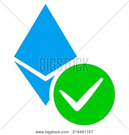 Valid Ethereum Crystal flat vector pictograph. An isolated illustration on a white background. poster