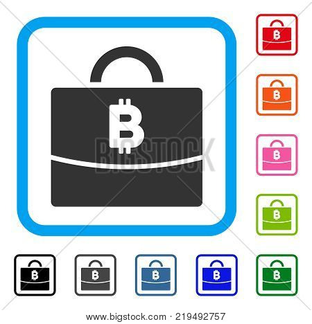 Bitcoin Accounting Case icon. Flat grey iconic symbol inside a blue rounded square. Black, gray, green, blue, red, orange color versions of Bitcoin Accounting Case vector.