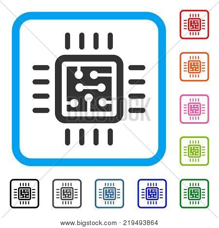 Cpu Circuit icon. Flat gray pictogram symbol in a blue rounded rectangular frame. Black, gray, green, blue, red, orange color variants of Cpu Circuit vector. Designed for web and app interfaces.