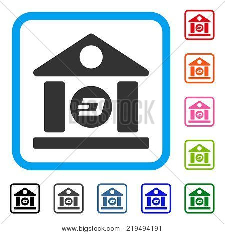 Dash Bank Building icon. Flat gray pictogram symbol in a blue rounded squared frame. Black, gray, green, blue, red, orange color variants of Dash Bank Building vector.