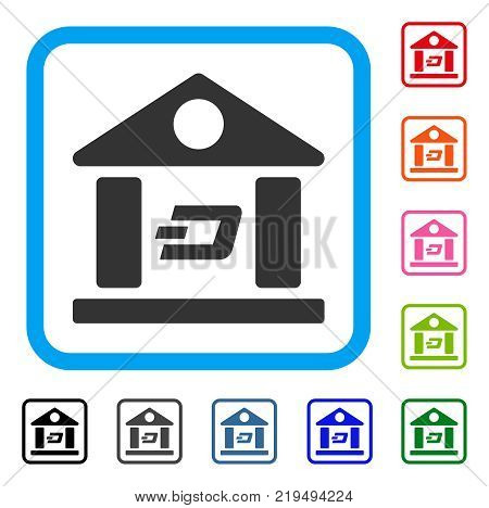 Dash Bank Building icon. Flat gray iconic symbol in a blue rounded rectangle. Black, gray, green, blue, red, orange color versions of Dash Bank Building vector. Designed for web and software UI.