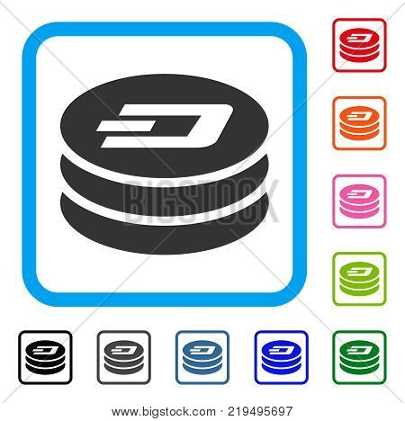 Dash Coin Column icon. Flat grey pictogram symbol inside a blue rounded square. Black, gray, green, blue, red, orange color versions of Dash Coin Column vector.