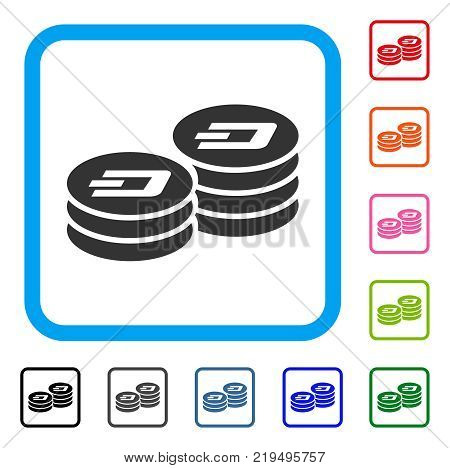 Dash Coin Columns icon. Flat grey iconic symbol in a blue rounded squared frame. Black, gray, green, blue, red, orange color variants of Dash Coin Columns vector.