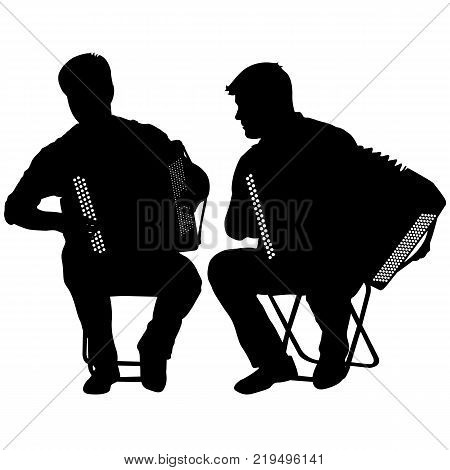 Silhouette of two musicians bayan on white background, vector illustration.