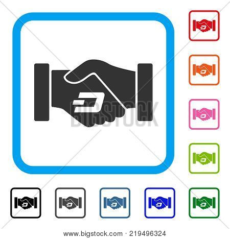 Dash Contract Hands icon. Flat gray iconic symbol in a blue rounded rectangle. Black, gray, green, blue, red, orange color variants of Dash Contract Hands vector.