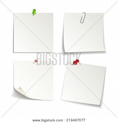 paper set of isolated white sticky note, vector illustration