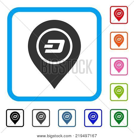 Dash Map Pointer icon. Flat gray pictogram symbol inside a blue rounded rectangle. Black, gray, green, blue, red, orange color variants of Dash Map Pointer vector. Designed for web and app UI.