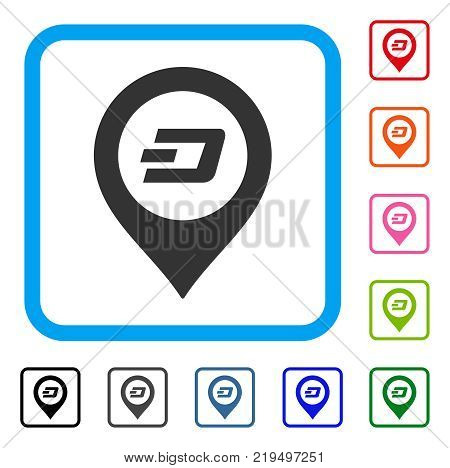Dash Map Pointer icon. Flat gray iconic symbol in a blue rounded frame. Black, gray, green, blue, red, orange color additional versions of Dash Map Pointer vector.