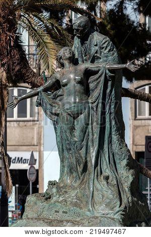 Statue Of Eca De Queiroz In Lisbon