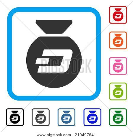 Dash Money Bag icon. Flat gray pictogram symbol inside a blue rounded rectangular frame. Black, gray, green, blue, red, orange color additional versions of Dash Money Bag vector.