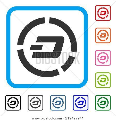 Dash Pie Chart icon. Flat gray pictogram symbol in a blue rounded squared frame. Black, gray, green, blue, red, orange color versions of Dash Pie Chart vector. Designed for web and app UI.