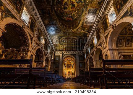 Lisbon Portugal August 6 2017: Interior of the 16th century Church of Saint Roch. It was the earliest Jesuit church in the Portuguese world and one of the first Jesuit churches anywhere.