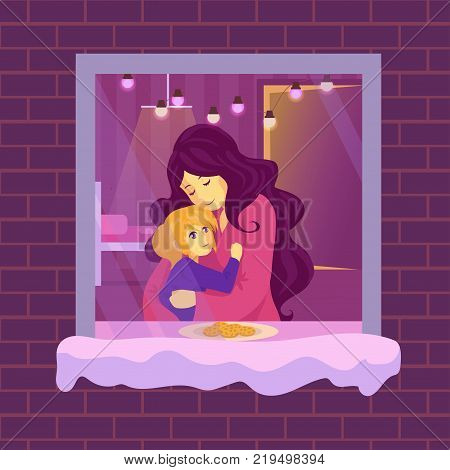 Mother hugs a child. Woman with her daughter. The girl put the cookies on the sill for Santa. Mom tells her daughter a story for the night. Little girl is waiting for Christmas.