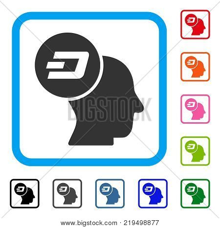 Dash Thinking Head icon. Flat gray iconic symbol in a blue rounded squared frame. Black, gray, green, blue, red, orange color variants of Dash Thinking Head vector.