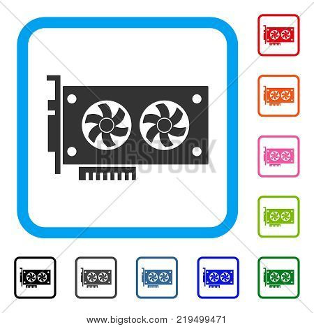 Dual Gpu Videocard icon. Flat gray iconic symbol in a blue rounded rectangular frame. Black, gray, green, blue, red, orange color additional versions of Dual Gpu Videocard vector.