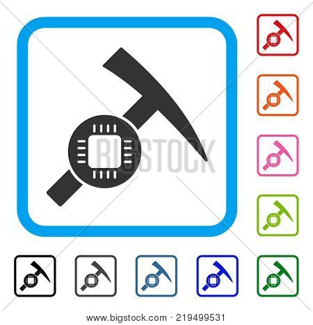 Electronic Mining Hammer icon. Flat grey pictogram symbol in a blue rounded rectangle. Black, gray, green, blue, red, orange color versions of Electronic Mining Hammer vector.