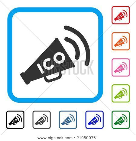 Ico News Megaphone icon. Flat gray iconic symbol in a blue rounded frame. Black, gray, green, blue, red, orange color variants of Ico News Megaphone vector.