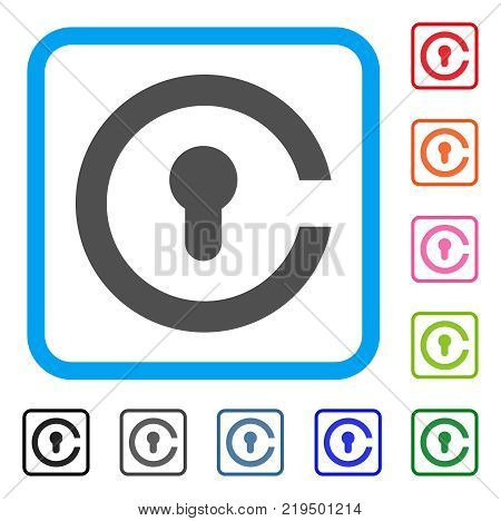 Keyhole icon. Flat grey iconic symbol inside a blue rounded square. Black, gray, green, blue, red, orange color versions of Keyhole vector. Designed for web and app user interface.