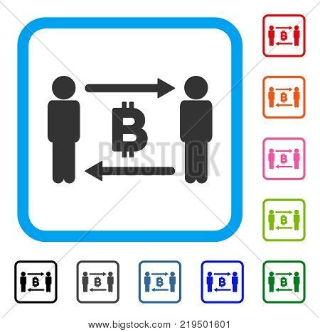 People Exchange Bitcoin icon. Flat gray pictogram symbol inside a blue rounded square. Black, gray, green, blue, red, orange color versions of People Exchange Bitcoin vector.