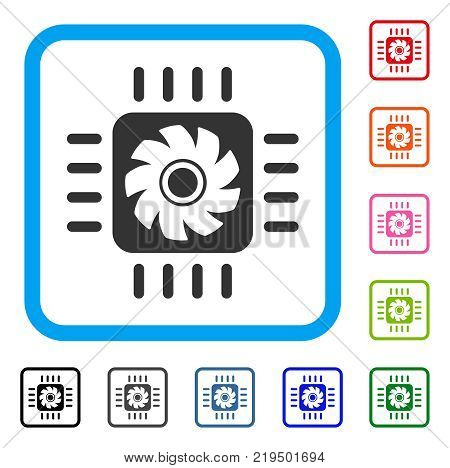 Processor Cooler icon. Flat grey iconic symbol inside a blue rounded rectangle. Black, gray, green, blue, red, orange color versions of Processor Cooler vector.
