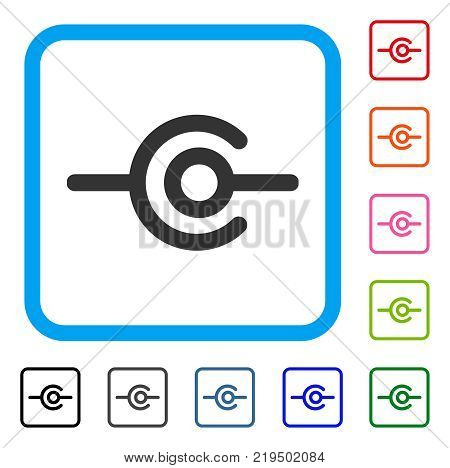 Wire Connection icon. Flat grey iconic symbol inside a blue rounded rectangle. Black, gray, green, blue, red, orange color variants of Wire Connection vector. Designed for web and app interfaces.
