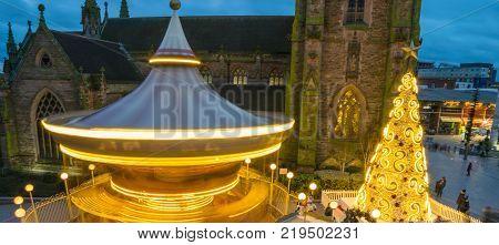 Birminghamm, UK - December 24th, 2017: Blurred motion during city centre christmas celebrations
