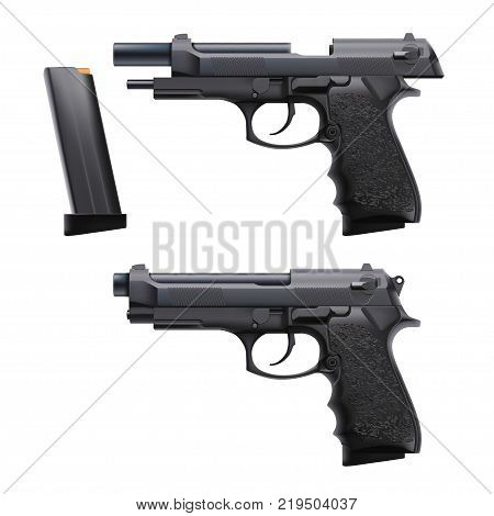 illustration of two conditions hand gun loaded and empty isolated on white background