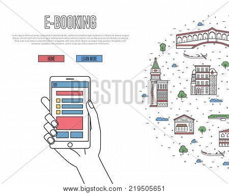 Online tickets ordering poster with venetian famous architectural landmarks in linear style. E-booking vector with smartphone in hand, mobile payment. World traveling, Italy historic attractions