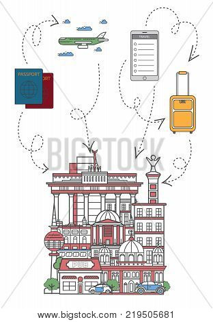 Lets travel poster with famous german architectural attractions, travel bag, passport, plane and smartphone in linear style. Online tickets ordering, europian tour advertising vector background.