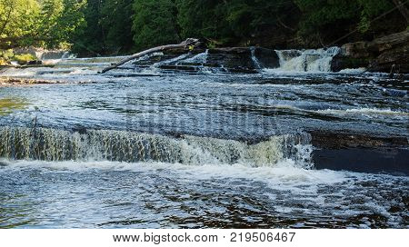 Manabezho Falls of the Presque Isle River Porcupine Mountains Wilderness State Park Michigan