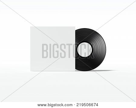 Music record with blank white cover package. 3d rendering