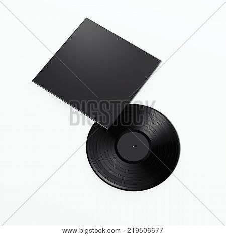 Music record with blank black package isolated on white. 3d rendering