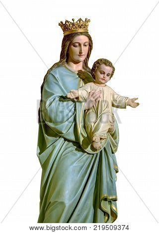 Our Lady of Mount Carmel statue isolated