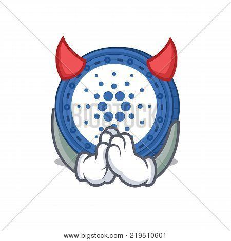 Devil Cardano coin character cartoon vector illustration