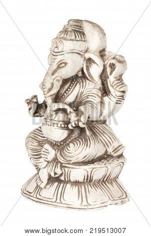 Beautiful Ancient Stone Figurine of Hindu God of Wisdom and Prosperity Ganesh (Ganapati- Elephant God) on a white background poster