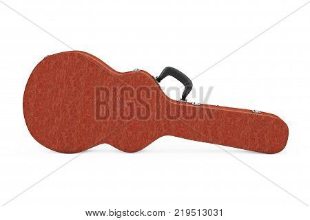 Acoustic Guitar Brown Leather Hard Case on a white background. 3d Rendering