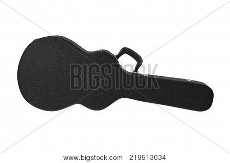Acoustic Guitar Black Leather Hard Case on a white background. 3d Rendering